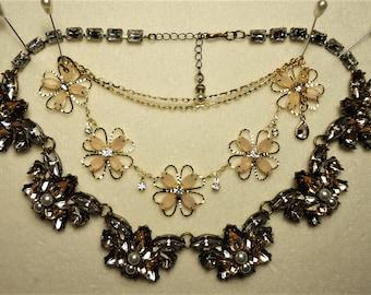 2 Vintage Rhinestone Bib/Choker Necklaces