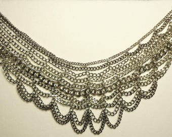 Vintage 10 Strand Bulky Chain Necklace