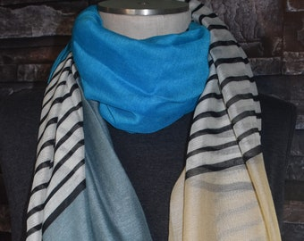 Striped Infinity Scarf Gray Blue Cream Color Block Long Scarf Circle Long Scarf Chunky Scarf-Spring Scarf-Accessories-Blue Gray