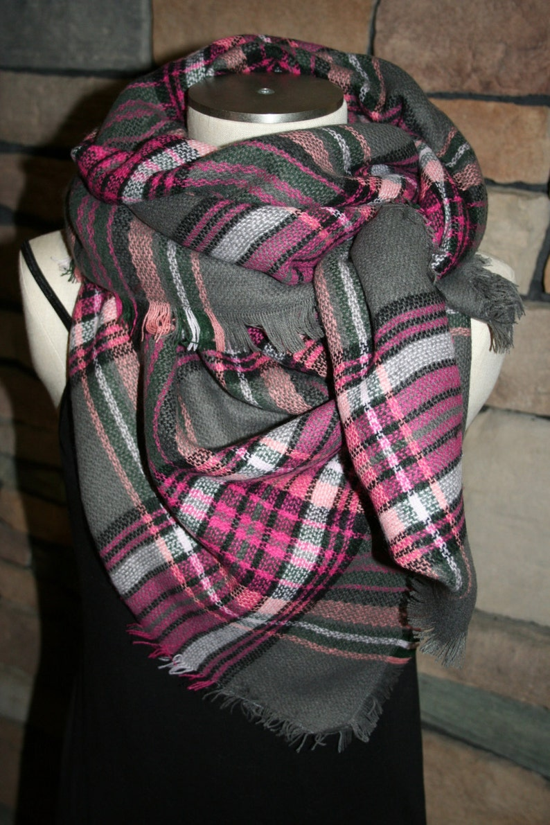 b0220c4e33b28 Plaid Tartan Blanket Scarf Pink and Gray Plaid Scarf Christmas | Etsy