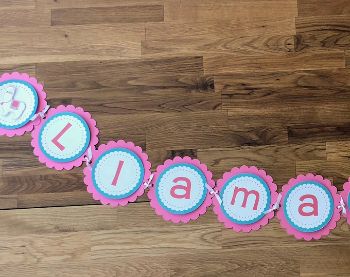 Llama Mama Banner - Alpaca Llama Mama Baby Shower Birthday Party Cute La La Llama pink aqua teal