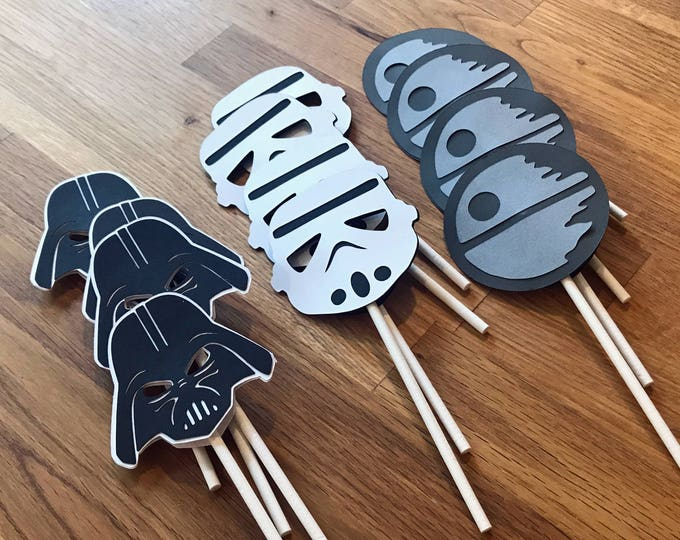 Cupcake Toppers: The Dark Side Star Wars Set - party wedding birthday jedi force yoda darth vader storm trooper the force awakens decoration