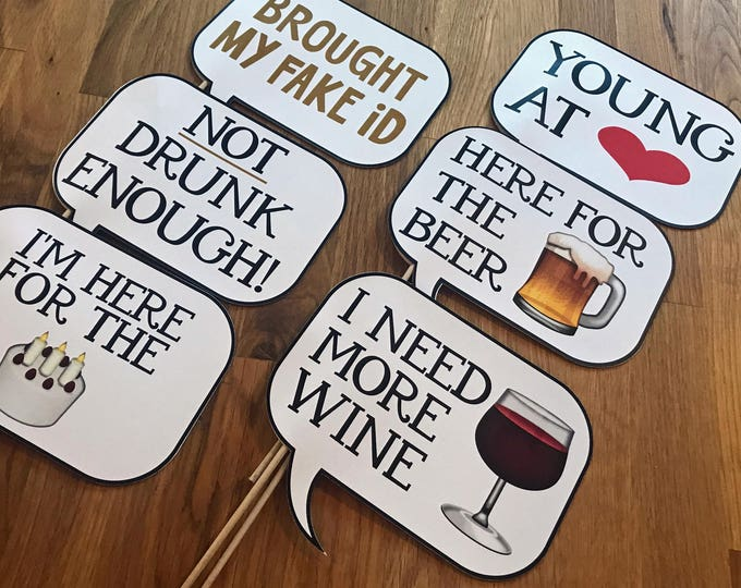 Photo Props: The Party Speech Bubble Set (6 Pieces) - party wedding birthday social media iPhone app icon emoji beer wine