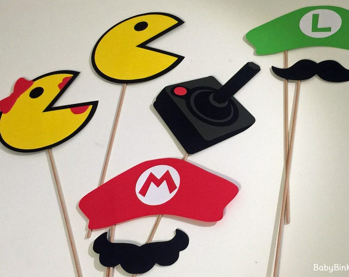 Photo Props: The Vintage Video Game Set (7 Pieces) - party wedding birthday centerpieces pacman mrs pacman mario luigi controller mustaches