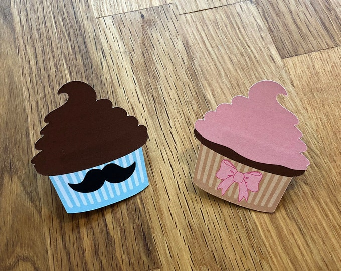 Party Pins: Gender Reveal Stud Muffin or Cupcake - Set of 12 - Die Cut Pink Bow & Blue Mustaches Baby Shower Party Game Vote