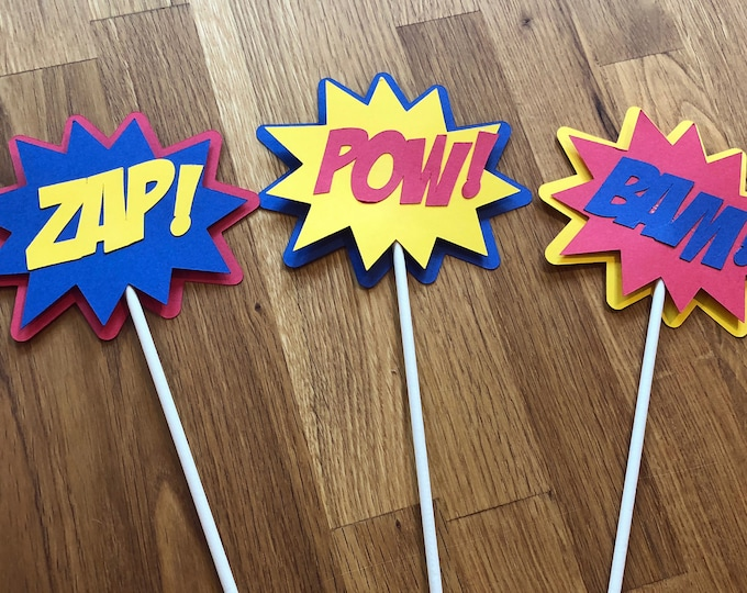 Cake Toppers - Die Cut Super Hero Phrase Cake Toppers - Set of 3 - superhero comic birthday party decorations wedding