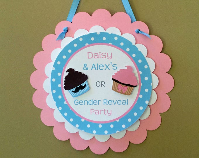 Door Sign: Gender Reveal Party - Stud Muffin or Cupcake Party Decorations die cut pink cupcake blue muffin