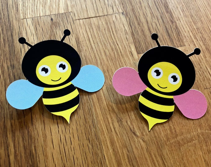 Party Pins: Baby Bumble Bees - Set of 12 - Gender Reveal Party Baby Shower Die Cut Pink Girl Blue Boy Vote Game What Will it Bee