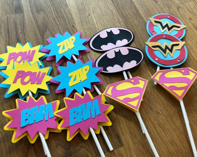 Die Cut Girl Super Hero Logo Cupcake Toppers - superhero wonder woman supergirl batgirl female comic birthday party decorations wedding