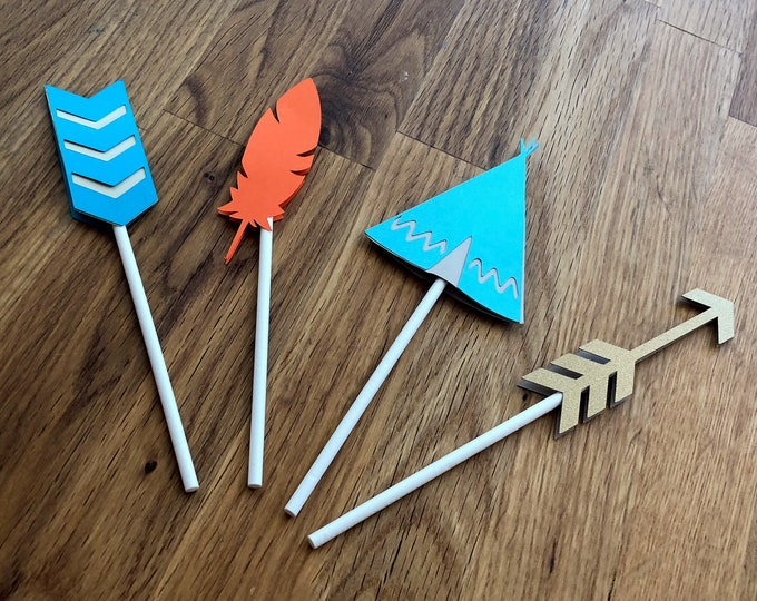 Tribal Cupcake Toppers - Wild One Three Thing Baby Shower Birthday Party Cute Aqua Teal Blue Gold Orange Arrow Chevron Feather Boho Chic Boy