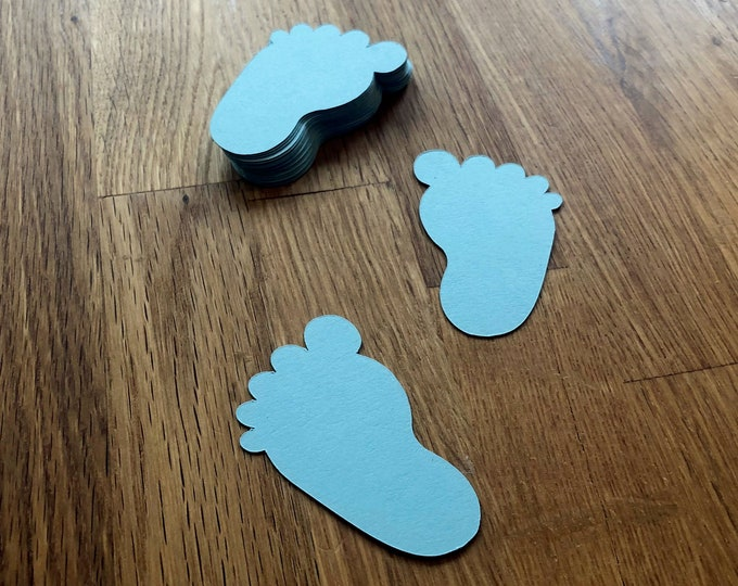 Die Cut Blue Baby Feet (25+) - photo prop party decoration punch cutout card stock