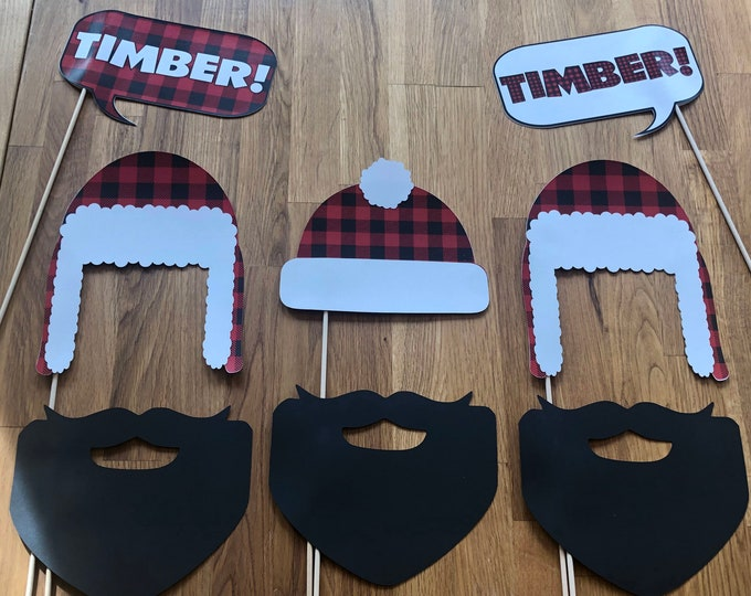 Photo Props: The Lumberjack Hat & Beard Set (8 Pieces) - party wedding birthday timber camping beard centerpiece plaid timber