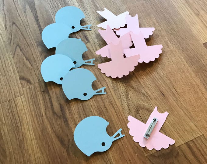 Party Pins: Gender Reveal Touchdowns or Tutus Baby Shower - Die Cut Pink Girl Tutu & Blue Boy Football Helmet vote