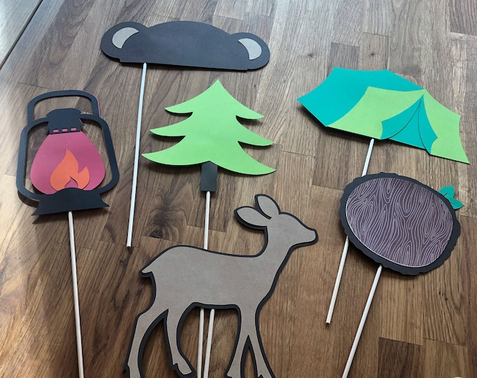 Photo Props: The Camping Set (6 Pieces) - party wedding birthday timber axe deer camping centerpiece tent bear tree woodland