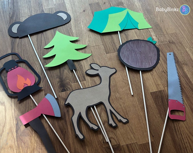 Photo Props: The Camping Set (8 Pieces) - party wedding birthday timber axe deer camping centerpiece tent bear tree woodland saw