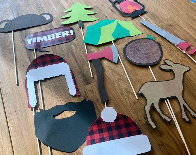 Photo Props: The Large Lumberjack Set (12 Pieces) - party wedding birthday timber axe deer camping beard centerpiece tent plaid timber