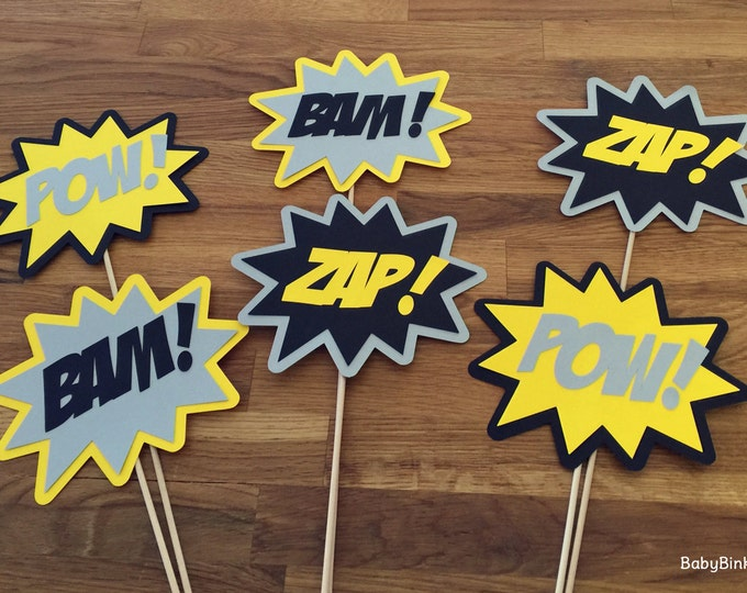 Photo Props: The Batman Super Hero Phrase Set (6 Pieces) - party wedding birthday mask pow bam zap superhero