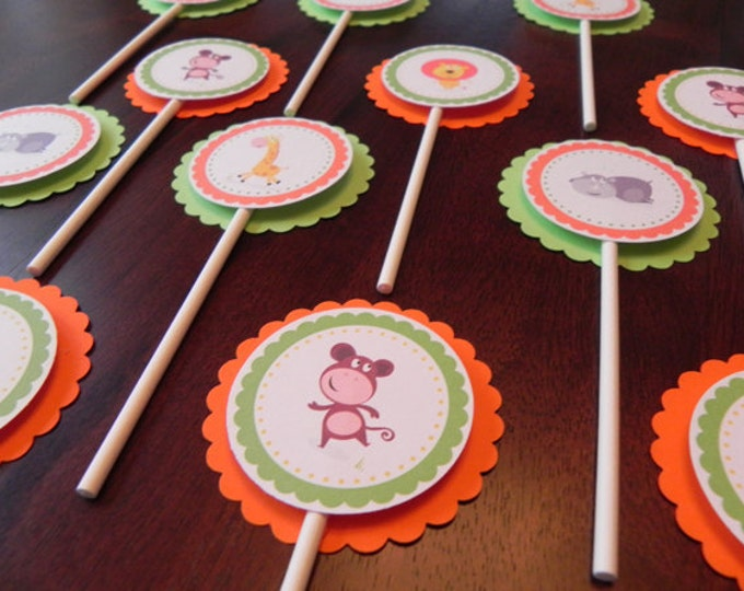 Cupcake Toppers: Jungle Animals - Orange and Green  Baby Shower Decorations