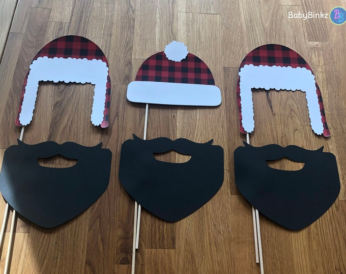 Photo Props: The Lumberjack Hat & Beard Set (6 Pieces) - party wedding birthday timber camping beard centerpiece plaid timber