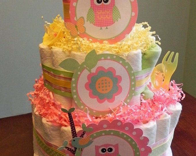 Pink & Yellow Woodland Owl Diaper Cake  - Three Tier Baby Shower Gift or Centerpiece pink yellow green girl owl butterfly flower bird