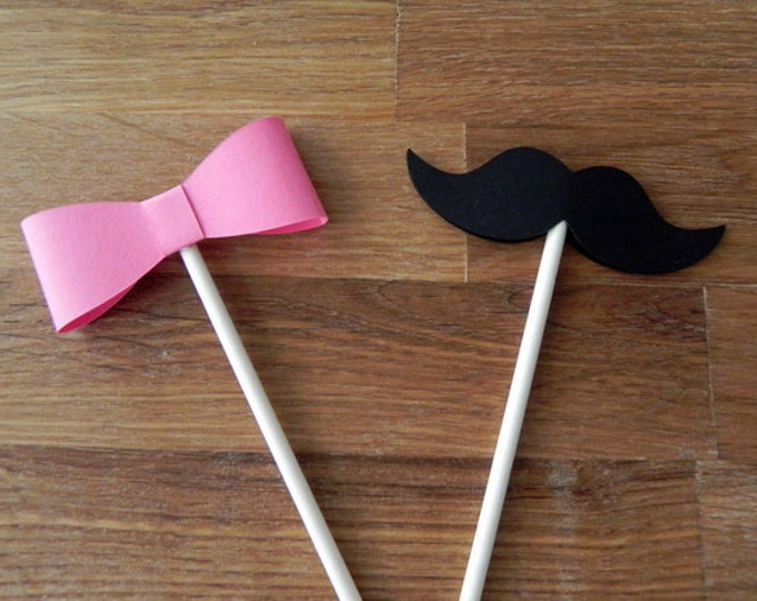Cupcake Toppers: Gender Reveal Baby Shower - Die Cut Pink Girl Bow & Boy Mustaches