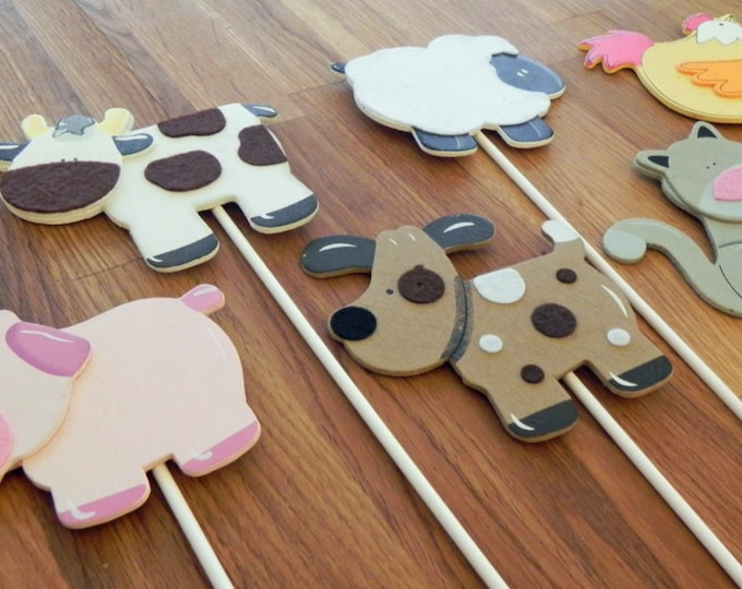 Farm Animal Shapes - Cake Toppers or Party Decorations cow pig sheep cat dog chicken hen baby shower birthday party