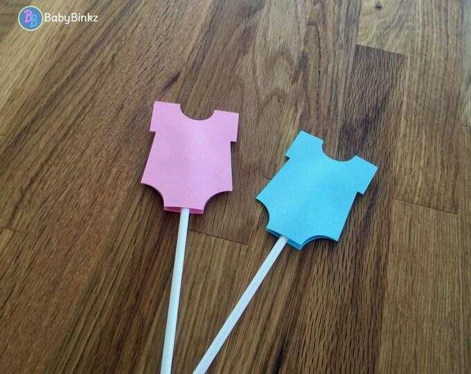 Cupcake Toppers: Gender Reveal Girl or Boy Baby Shower - Die Cut Pink & Blue Bodysuits