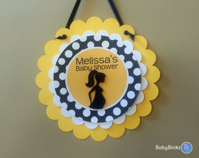 Door Sign: Modern Yellow & Black Theme polka dot rubber duckie pregnancy silhouette gender neutral