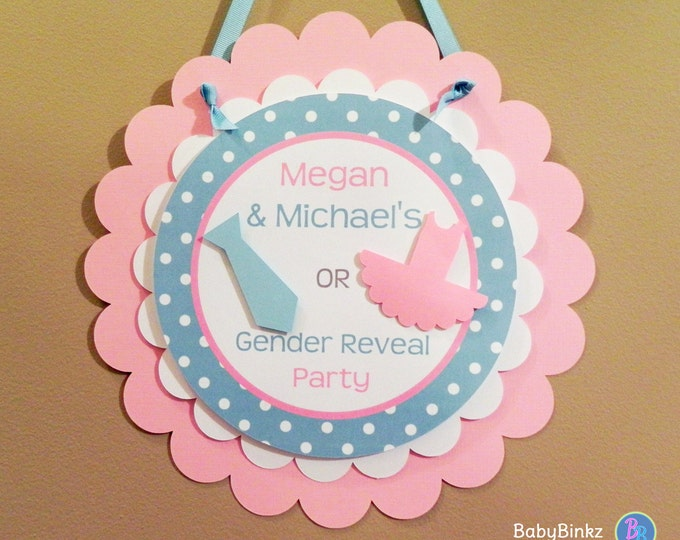 Door Sign: Gender Reveal Party - Ties or Tutus Party Decorations die cut neck tie bow tie tutu ballet blue pink