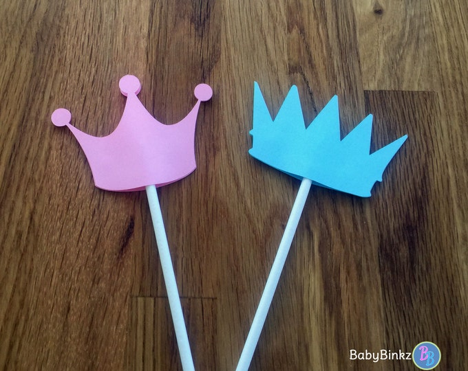 Cupcake Toppers: Prince or Princess Gender Reveal Baby Shower - Die Cut Pink Girl Tiara & Blue Boy Crown little prince little princess