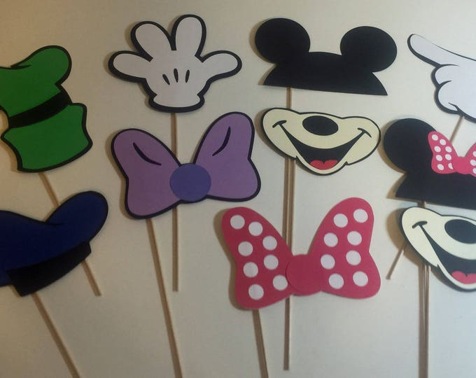 Photo Props: The Mickey Mouse Inspired Set (10 Pieces) - party wedding birthday centerpieces mini goofy donald bows mouse minnie disney