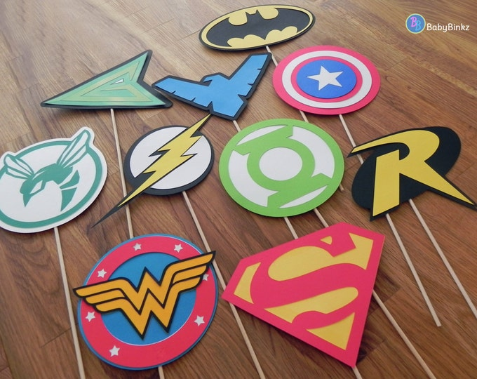 Photo Props: The Super Hero Logo Set (10 Pieces) - party wedding birthday die cut superhero mask superman america batman wonder woman