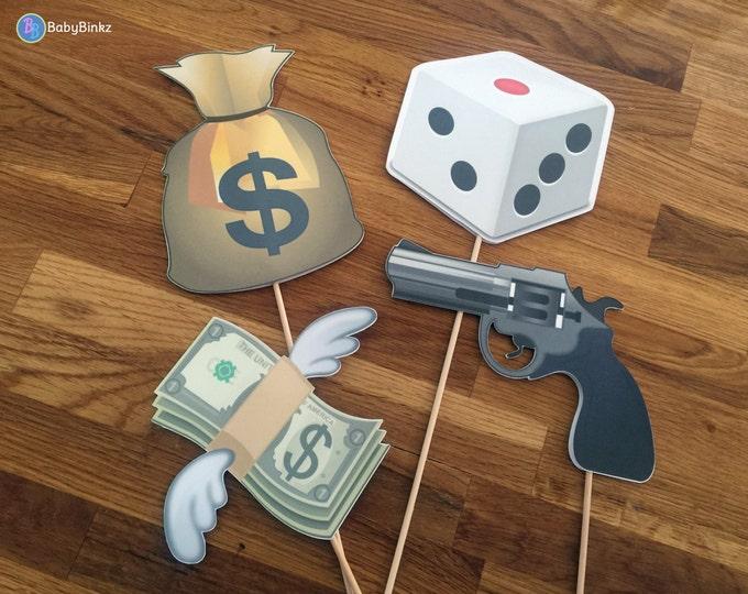 Photo Props: The Gangster Emoji Set (4 Pieces) - party wedding birthday social media iPhone app icon centerpiece gun money dice gamble bag