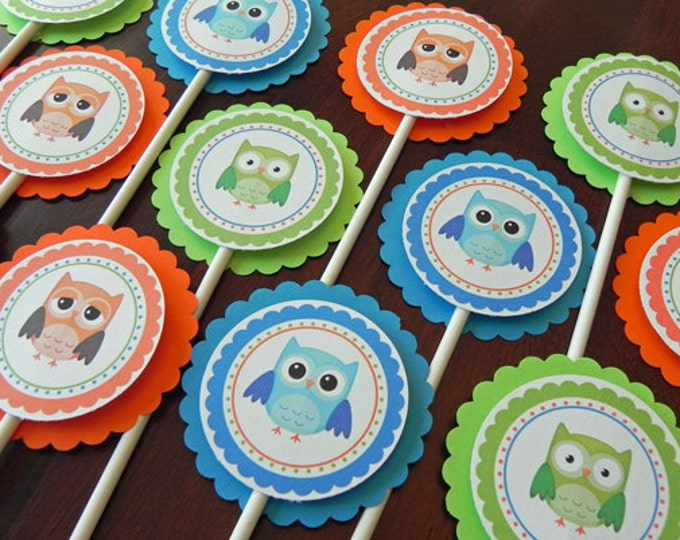 Cupcake Toppers: Boy Owls in Blue, Green & Orange - Baby Shower Party Decorations