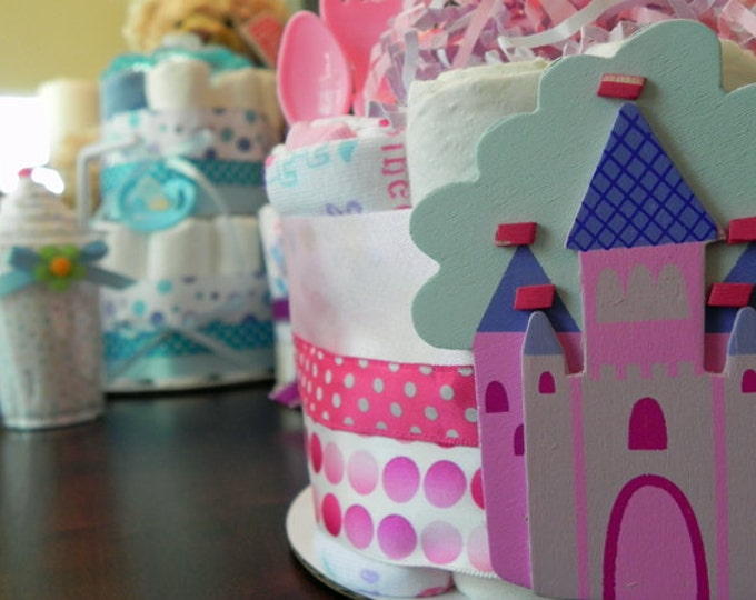 Pink Princess Diaper Cake - One Tier Baby Shower Gift or Centerpiece