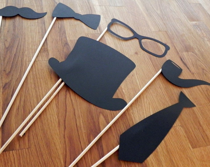 Photo Props: The Gentlemen's Set (6 Pieces) - party wedding engagement birthday die cut mustache top hat bow tie pipe stick