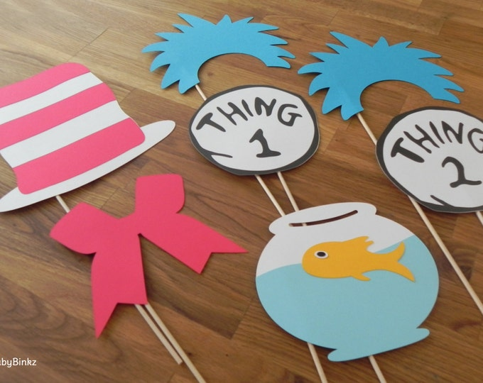Photo Props: The Cat in the Hat Inspired Set (7 Pieces) - party wedding birthday engagement dr seuss cat in the hat thing 1 2
