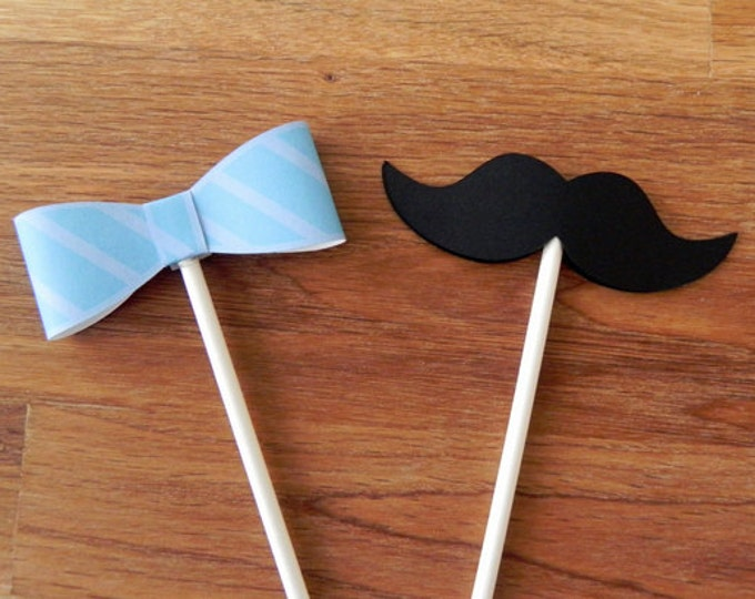 Cupcake Toppers: Little Man Bow Ties and Mustaches Baby Shower or Birthday Party - die cut mustaches bow ties