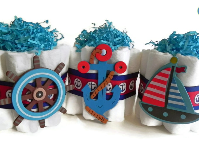 Mini Diaper Cake Nautical Trio - Anchor, Sailboat & Boat Steer baby shower boy blue red diaper cake gift decoration navy