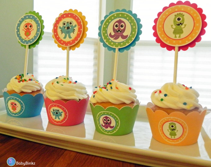 Cupcake Wrappers: Monster Bash in Blue Green Red & Yellow - Monster Party Boy Baby Shower or Kids Birthday Party Decorations Primary Colors