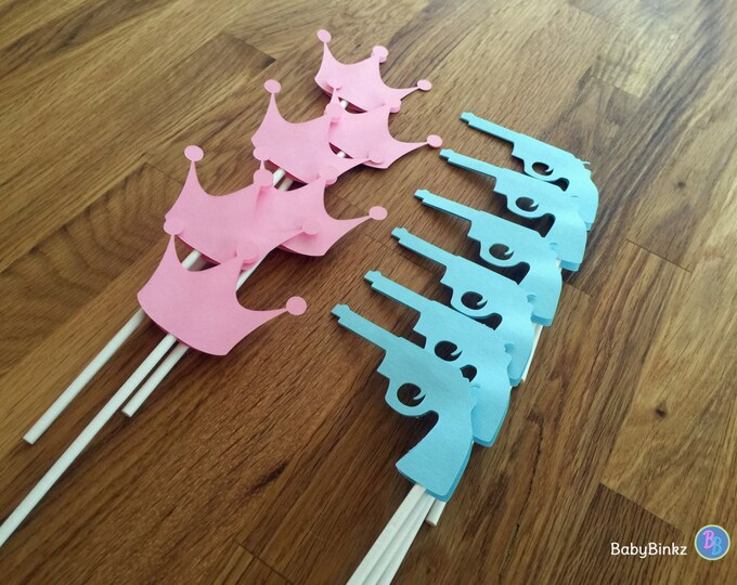 Cupcake Toppers: Gender Reveal Guns or Glitter Baby Shower - Die Cut Pink Girl Crown & Blue Boy Pistol Gun