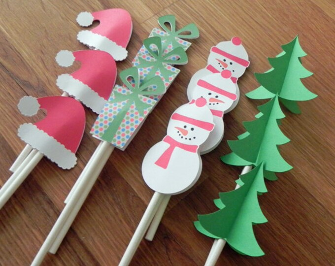 Cupcake Toppers: Christmas - Die Cut Christmas Trees, Snowman, Santa Hat & Presents holiday gift