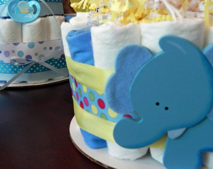 Circus Elephant Diaper Cake - One Tier Baby Shower Gift or Centerpiece