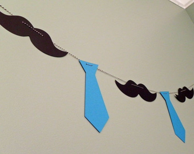 Party Banner: Little Man Tie and Mustache Garland - Baby Shower or Birthday Party - die cut mustaches ties photo prop