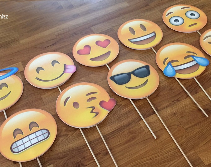 Photo Props: The Emoji Set (10 Pieces) - party wedding birthday facebook decoration instagram social media iPhone app icon stick centerpiece