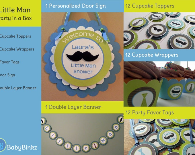 Little Man Party in a Box - Little Man Mustache & Tie Party Decorations Party Package Set die cut bow tie mustache blue green