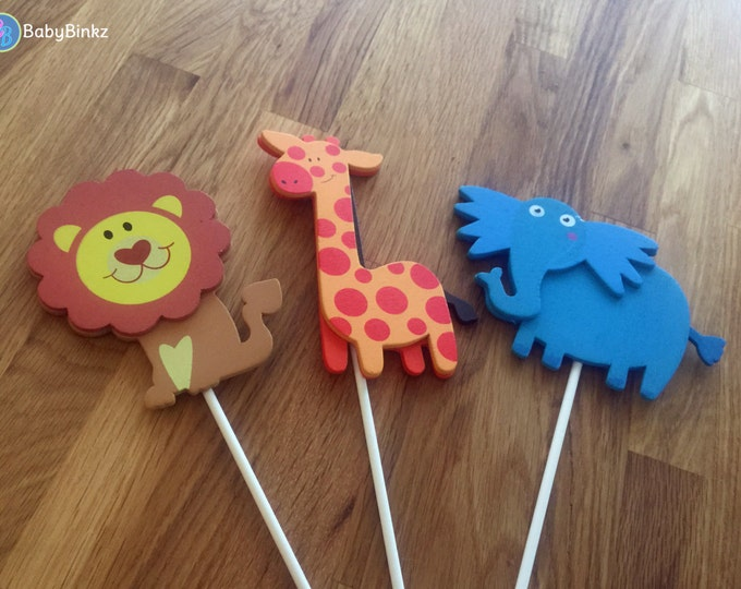 Jungle Animal Shapes - Cake Toppers or Party Decorations giraffe lion elephant baby shower birthday party