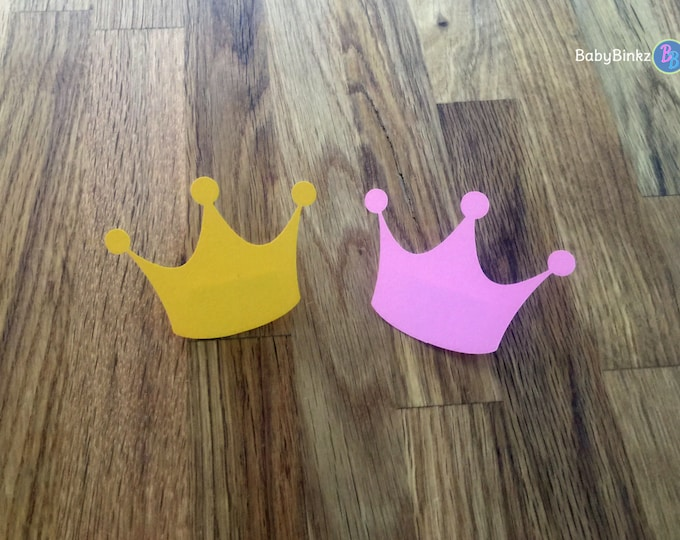 Party Pins: Little Princess Baby Shower - Die Cut Pink and Gold Girl Crowns Tiara vote game royalty birthday party
