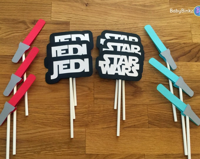 Cupcake Toppers: The Star Wars Set - party wedding birthday jedi force BB8 R2D2 CP3O darth vader lightsaber storm trooper awakens decoration