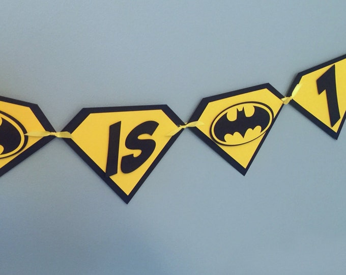 Super Hero Batman Pennant Banner - Happy Birthday yellow black comic die cut custom superhero marvel inspired robin